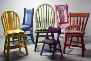 Melissa Maddonni Haims, yarn bombed chairs